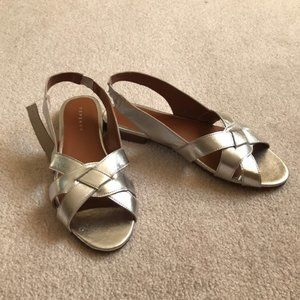 2/$35 Topshop silver metallic woven sandals NWT